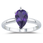 0.55 Cts of 7x5 mm AAA Pear Amethyst Solitaire Ring in 18K White Gold