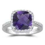 0.30 Cts Diamond & 3.00 Cts of 10 mm AAA Cushion Checker Board Amethyst Ring in Platinum