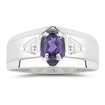 0.01 Cts Diamond & 0.35-0.45 Cts AAA Amethyst Mens Ring in Silver