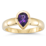 0.68 Cts of 7x5 mm AA Pear Amethyst Solitaire Ring in 14K Yellow Gold