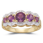 0.05 Cts Diamond & Amethyst Ring in 14K Yellow Gold