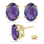 1.98 Cts of 8x6 mm AA Oval Checker Board Amethyst Stud Earrings in 14K Yellow Gold