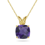 1.90-2.55 Cts of 8 mm AAA Cushion Amethyst Scroll Solitaire Pendant in 14K Yellow Gold