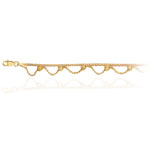 Adjustable Box Chain & Beads Anklet in 14K Yellow Gold