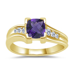 0.09 Cts Diamond & 0.39 Cts Amethyst Ring in 14K Yellow Gold