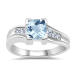 0.09 Cts Diamond & 0.56 Cts Aquamarine Ring in 14K White Gold