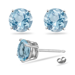 0.82-0.94 Cts of 5 mm AA Round Aquamarine Stud Earrings in 14K White Gold