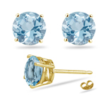 0.40-0.61 Cts of 4 mm AA Round Aquamarine Stud Earrings in 14K Yellow Gold - Christmas Sale