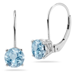 1.25-1.55 Cts of 6 mm AA Round Aquamarine Stud Earrings with Lever Backs in 14K White Gold