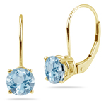1.25-1.55 Cts of 6 mm AA Round Aquamarine Stud Earrings with Lever Backs in 14K Yellow Gold