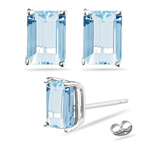 1/2 Cts of 5x3 mm AA Emerald Aquamarine Stud Earrings in 14K White Gold