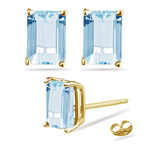 6.00 Cts of 10x8 mm AA Emerald Aquamarine Stud Earrings in 14K Yellow Gold