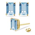 9.50 Cts of 12x10 mm AAA Emerald Aquamarine Stud Earrings in 18K Yellow Gold