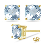 1.15 Cts of 5 mm AA Cushion Aquamarine Stud Earrings in 14K Yellow Gold