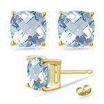 1.15 Cts of 5 mm AA Cushion Aquamarine Stud Earrings in 18K Yellow Gold