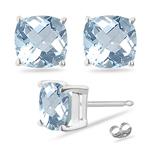 3.00 Cts of 7 mm AA Cushion Aquamarine Stud Earrings in Platinum