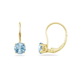 0.30 Cts of 3.5 mm AA Round Aquamarine Stud Earrings with Scroll Lever Backs in 14K Yellow Gold