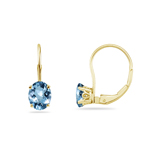 2.20 Cts of 8x6 mm Heirloom Oval Aquamarine Stud Scroll Lever Backs Earrings in 14K Yellow Gold
