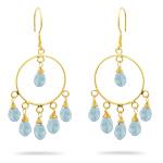 18K Gold Aquamarine Briolette (7.25 Cts) Circle Earrings