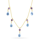 1.00 Cts Amethyst & 0.72 Cts Blue Topaz Necklace in 14K Yellow Gold