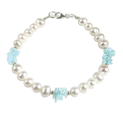 Pearl Bracelet with Aquamarine in Silver