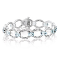 1.53 Cts Diamond & 8.45 Cts Aquamarine Bracelet in 14K White Gold