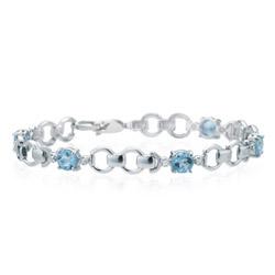 0.01 Cts Diamond & 2.37-2.45 Cts Aquamarine Bracelet in 14K White Gold