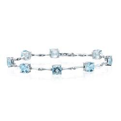 0.04 Cts Diamond & 7.05 Cts Aquamarine Bracelet in 14K White Gold