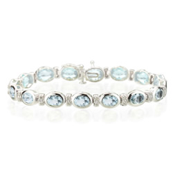 0.32 Cts Diamond & 12.00 Cts Aquamarine Bracelet in 14K White Gold