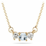 4 mm Aquamarine & 1/4 Cts Diamond Pendant in 18K Yellow Gold