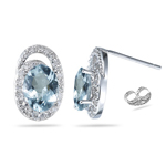 0.25 Ct Diamond & 1.74-2.31 Ct AA Aquamarine Earrings - 14K White Gold