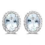 0.35 Ct Diamond & 4.50 Cts Aquamarine Earrings in 14K White Gold
