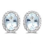0.35 Ct Diamond & 4.50 Cts Aquamarine Earrings in 14K White Gold