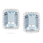 0.42 Ct Diamond & 6.00 Cts Aquamarine Earrings in 14K White Gold