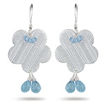 4.30 Cts  AA Briolette Aquamarine Earrings in Sterling Silver