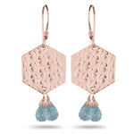 4.20 Cts Aquamarine Earrings in Sterling Silver with Pink Rhodium
