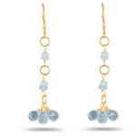 4.25+ Cts Aquamarine Briolette Earrings in 18K Yellow Gold