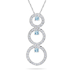 0.80 Cts Diamond & 0.33 Ct Aquamarine Trio-Cricle Pendant in 14KW Gold