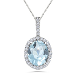 1/4 Cts Diamond & 2.40 Cts Aquamarine Pendant in 14K White Gold