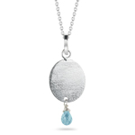 1.05 Cts Aquamarine Oval Pendant in Sterling Silver