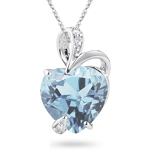 0.02 Cts Diamond & 6.00 Cts Aquamarine Heart Pendant in 14K White Gold