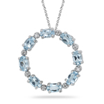 0.06 Cts Diamond & 1.60 Cts Aquamarine Circle Pendant in 14K White Gold