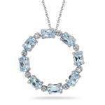 0.06 Cts Diamond & 1.60 Cts Aquamarine Circle Pendant in 14K White Gold