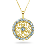 1.90 Cts Aquamarine Pendant in 14K Yellow Gold