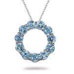 1.88 Cts Aquamarine Circle Pendant in 14K White Gold