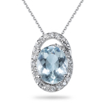 1/4 Ct Diamond & 2.25 Cts Aquamarine Pendant in 14K White Gold