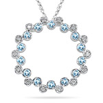 0.20 Cts Diamond & 0.80 Cts Aquamarine Circle Pendant - 14K White Gold