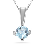 1.00 Ct Aquamarine Solitaire Pendant in Silver