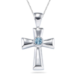 0.22 Cts Aquamarine Cross Pendant in Silver