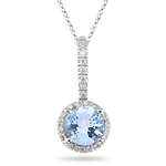 0.13 Cts Diamond & 1.10 Cts Aquamarine Pendant in 14K White Gold
